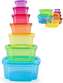 MUXItrade Boites Alimentaires Lot de 7 Boites en Plastique Emboitables + Couvercles,pour Lave Vaisselle, Four à Micro-Onde...