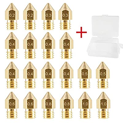 HAWKUNG 20 Pieces 3D Printer Heads MK8 Nozzle 0.2mm, 0.3mm, 0.4mm, 0.5mm, 0.6mm, 0.8mm, 1.0mm Brass Nozzle compatible with Makerbot Creality CR-10