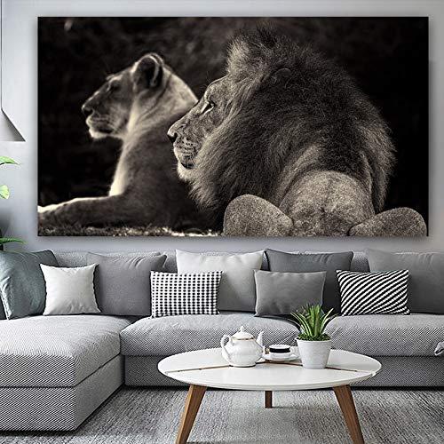 baodanla frameloze olieverfschilderij canvas Ng abstracte dier poster en afdrukken Black Lion Moderne pop-art wandafbeeldingen voor de woonkamer Cuadros