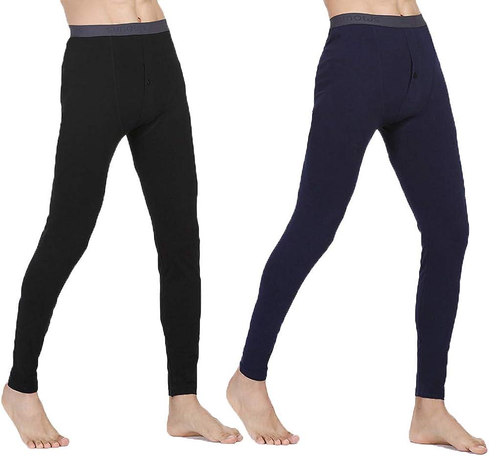 IVYRISE 2 Pack Mens Longjohns Thermal Underwear Cotton Basic Layer Light Weight Warm Bottom, Black & Navy Blue