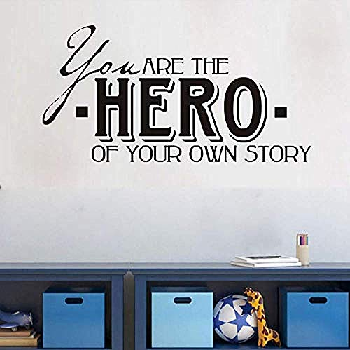 Eres héroe tu propia historia Life DIY Etiqueta pared para habitación los niños Decoración hogar Niños Dormitorio Decoración pared 29X57Cm