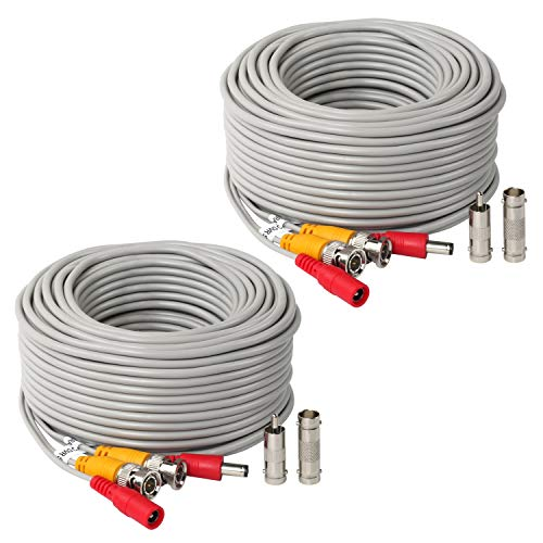 2Pack 100Feet BNC Vedio Power Cable Pre-Made Al-in-One Camera Video BNC Cable Wire Cord Gray Color for Surveillance CCTV Security System with Connectors(BNC Female and BNC to RCA)