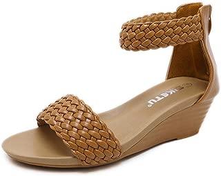 FORUU Fashion Women Sandals Summer Bohemia Shoes Wedges Weave Middle Heel Sandals