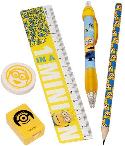 alles-meine.de GmbH 5 TLG. Set - Schreibset -  Minions - Ich einfach unverbesserlich  - Bleistift + Lineal + Radiergummi + Spitzer + Kugelscheiber / Kinder - für die Schule - V..