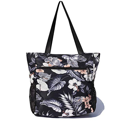 Original Floral Water Resistant Tote Bag Large Shoulder Bag with Multi Pockets for Gym Hiking Picnic Travel Beach Daily Bags (Black Gray Leaf)