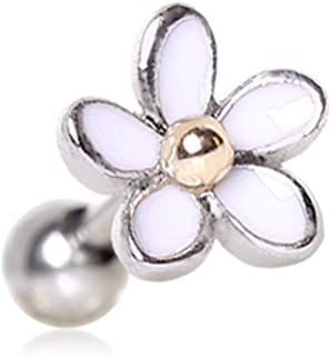 316L Surgical Steel Sweet White Daisy Cartilage Earring