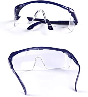 Fashion Windproof, Splash-Proof, Dust-Proof Glasses, Telescopic Adjustment of Temples Labor Protection, Retro (Color : Blue)