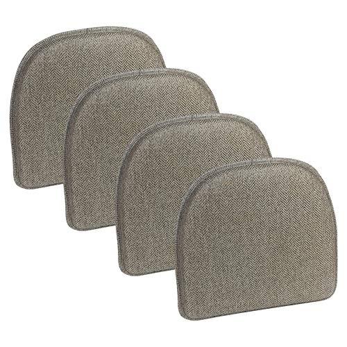 Klear Vu Herringbone Essentials Non-Slip Dining Kitchen Chair Pad, Set of 4, Gray