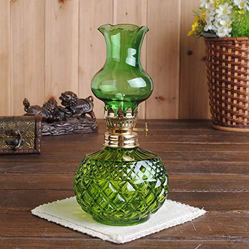 CLX Glas Kerosin-Lampe, Multi Gesichtsauswahl Paar-Schlafzimmer-Lampe Retro Laterne im Freienzelt-Camping-Lampe Alkohol Romantische Lampe,Grün