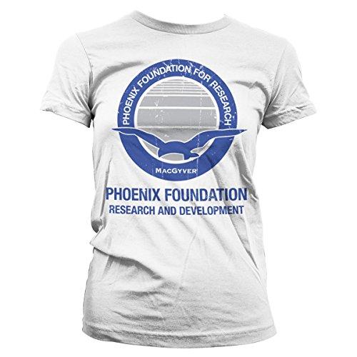 MacGyver Offiziell Lizenzprodukt Phoenix Foundation Damen Tee (Weiß), Large