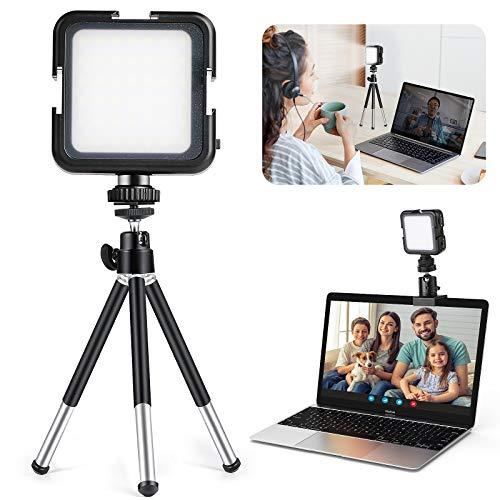 MACTREM Lámpara Led para Videoconferencia,Lluminación de Videoconferencia para Ordenador Laptop Portátil con Clip y Tripode de Zoom, Trabajo Remoto, Transmisión en Vivo de Youtube TikTok