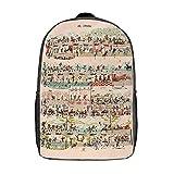 Mochila de viaje para portátil unisex ideal para caza de senderismo, capacidad de 17 pulgadas escuela escuela escuela universidad mochila, Dibujos animados de música (Blanco) - TB-ZXY-0w34y29j4vqr-1