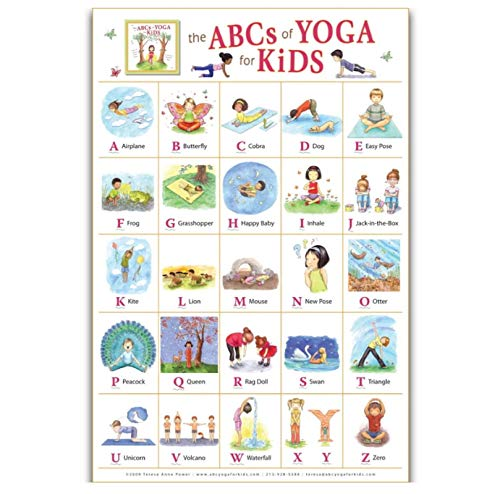 MRBIGWEI My ABC Alphabet Yoga Pose Learning Table Kids Print on Canvas Art Poster Pictures Imágenes de la Sala de Estar Decoración del hogar (50x75cm -20x30 IN Sin Marco