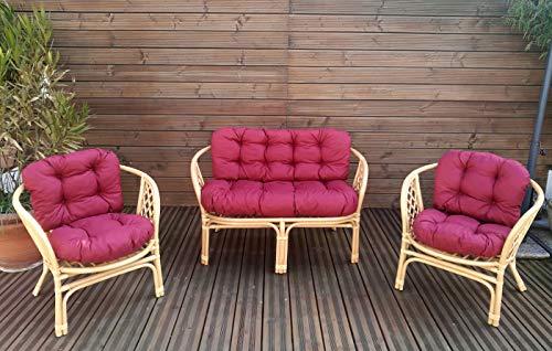 Mayaadi-Home Gartenbankauflagen 6 teiliges Sitzkissen-Set Sitzpolster für Gartengarnitur Set Steve Bordeaux JCG1