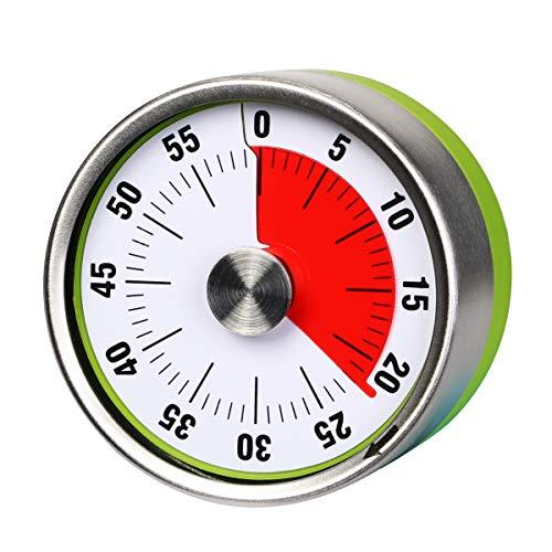 Temporizador mecánico pequeño AIMILAR de cocina – Temporizador visual de cuenta regresiva de 60 minutos magnético con alarma fuerte para niños y adultos para hornear barbacoa al vapor (verde)