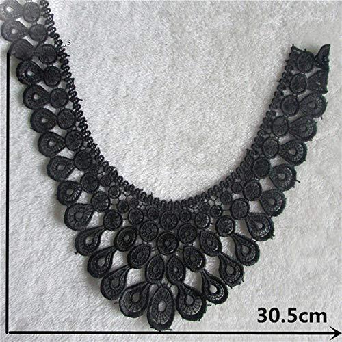 Hoogwaardig zwart borduurwerk applicatie kant uitsnijding doe-het-zelf stof naaien kant kraag decoratie dames jurk accessoires accessoires, 2PCS Sale