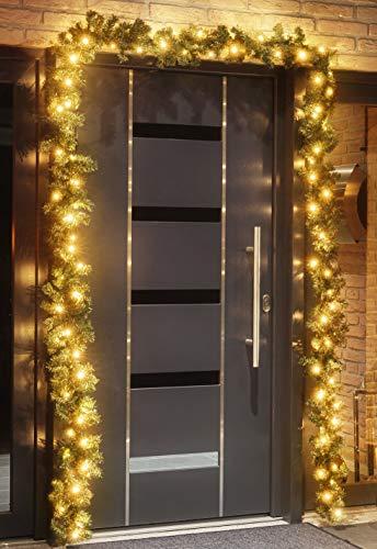 Tannengirlande 5 Meter mit 80 warm-weißen LED, strombetrieben, inkl. 10 Meter Zuleitung, für Innen & Außen geeignet, künstliche Girlande mit Beleuchtung