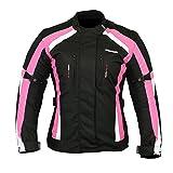 RKsports 252Veste de moto pour femmes en tissu imperméable - Rose/gris - rose - Taille unique