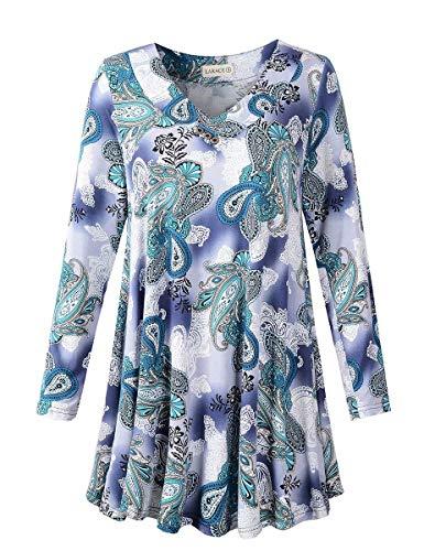 LARACE Women Plus Size Tunic Tops Long Sleeve V Neck Blouse Loose Swing Basic Flowy T Shirt for Leggings, A-Green03 M