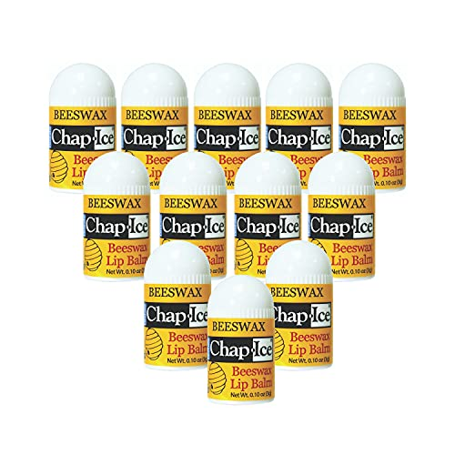 Chap-Ice | Premium and Traditional Lip Balm for Chapped, Dry, or Windburned Lips | Beeswax Peppermint Flavor | Made in USA — 12 Mini Sticks (0.10oz/3g)