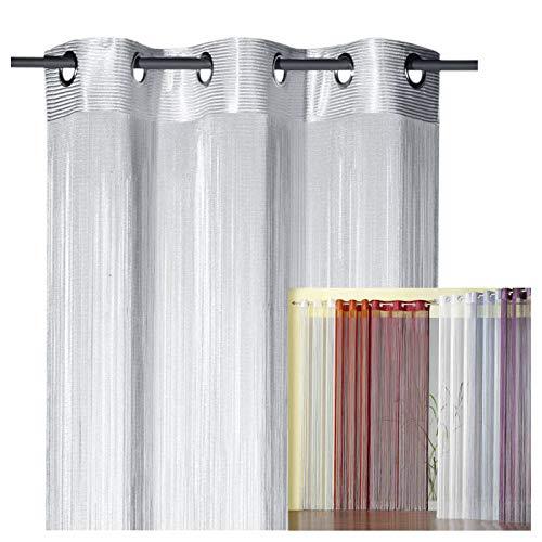 heimtexland ® Fadengardine Fadenvorhang mit Ösen Fadenstore Vorhang als Raumteiler Insektenschutz Perlenvorhang Gardie Typ123 (245x98, Silber)