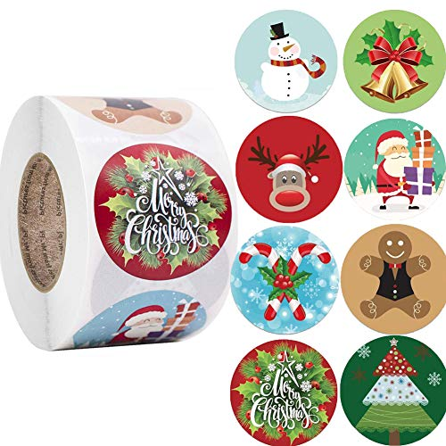 500 Piezas,Feliz Navidad Pegatinas Rollo,Papel Pegatinas Handmade,Feliz Navidad Pegatinas Etiquetas Regalo,pegatinas de Navidad para Regalos,Pegatinas de Navidad...