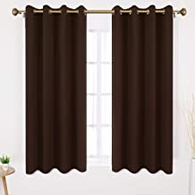 HOMEIDEAS Blackout Curtains Wide 52 X 63 Inches Length Set of 2 Panels Chocolate Brown Room Darkening Curtains/Drapes, Thermal Insulated Grommet Window Curtains for Bedroom & Living Room