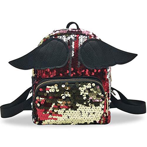 Fashion Girl Sequin School Bag Lady Pure Color Zipper Backpack Satchel Women Travel Shoulder Bag Backpack mochilas Mujer,Red