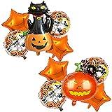 Globos de Halloween, 10 Pcs Halloween Foil Balloon, Decoración de Fiesta de Halloween Set, Globo de Calabaza de Araña de Gato Negro de Halloween, Halloween Bar Suministros de Decoración del Hogar