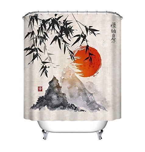 LB Cortina de Ducha de Tinta Japonesa con Ganchos, Cortinas de baño de árboles de bambú Sol montañas Sistema de decoración Resistente al Agua y Moldeado de poliéster de 180x200 cm
