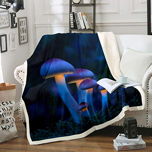 Manta de felpa con diseño de setas, diseño de hongos con purpurina, para sofá, cama, 122 x 152 cm
