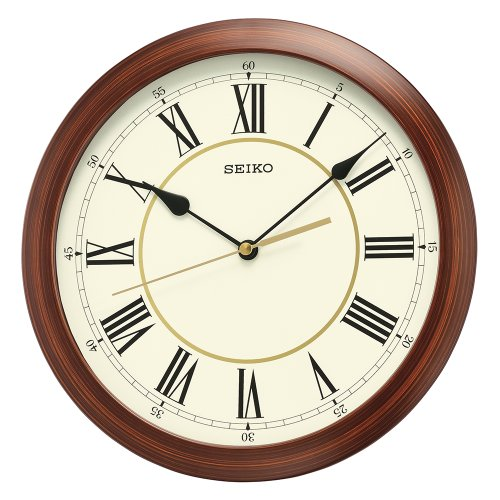 Seiko Round Wood Finish Wall Clock