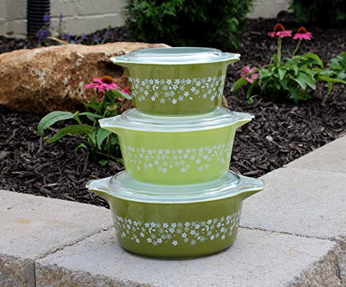 Set of 3 Pyrex Spring Blossom Round Casserole Dishes with Lids