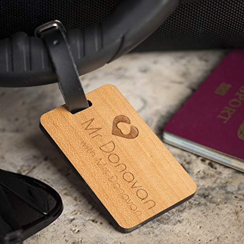 Personalised Laser Engraved Wooden Luggage Tag with Leather Strap - Travelling With Design