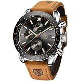 BENYAR - Stylish Wrist Watch for Men Leather Strap Watches Quartz Movement, Waterproof Analog Chronograph Business Watches