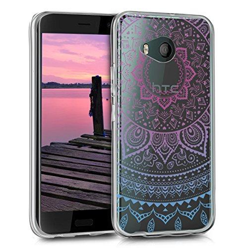 kwmobile Hülle kompatibel mit HTC U11 Life - Handyhülle - Handy Hülle Indische Sonne Blau Pink Transparent