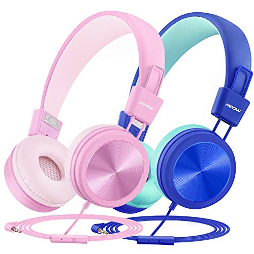 Kids Headphones (2-Pack), Mic & Shring Function Mpow CH8 Wired Child Headsets, 91dB Volume Limited Foldable On-Ear Earphones for Online Learning Toddlers Children School Travel Plane Boys Girls