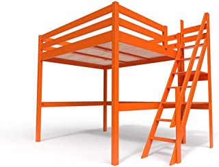 ABC MEUBLES - Lit Mezzanine Sylvia avec escalier de meunier Bois - 1130 - Orange, 160x200