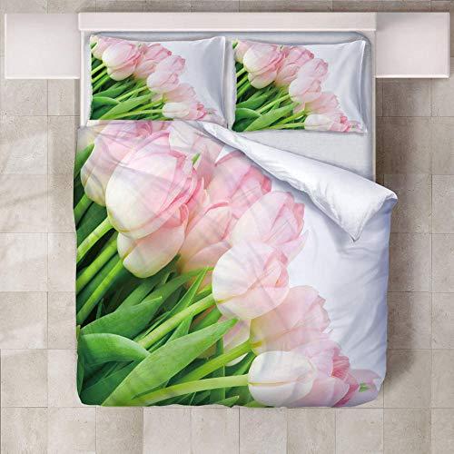 SFALHX Bettwäsche Set Pinke Blume 135x200cm 3 Teilig Bettbezug Set Microfaser Bettwäsche mit Reißverschluss und 2 mal Kissenbezug