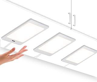 Lamparas de Panel de LED per Bajo Muebles Armarios Empotrados de Cocinas con Interruptor de Sensor de Mano 3X 5W Luz Blanco Neutro 4000K con 3 Lamparas y Adaptador de Corriente de Enuotek