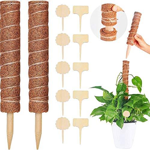 MGRETT Pflanzstab Kokos, 2 Stück Kokos Totem Pflanzen Rankhilfe, Blumenstab Kokosstab mit 10 Holzetiketten für Haus Garten Kletterpflanze Rankstab Pflanzenstütze und Garten Tags Stecketiketten