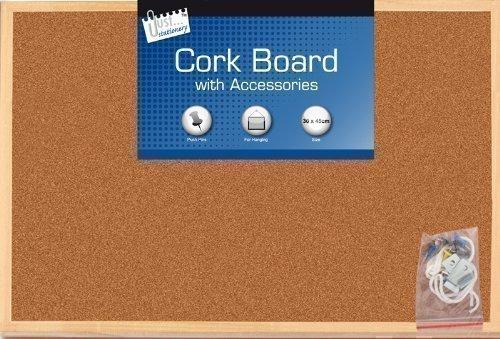 Grand panneau d'affichage en bois et liège pour cuisine bureau 30 x 45 cm + 6 punaises et cordelette d'accrochage