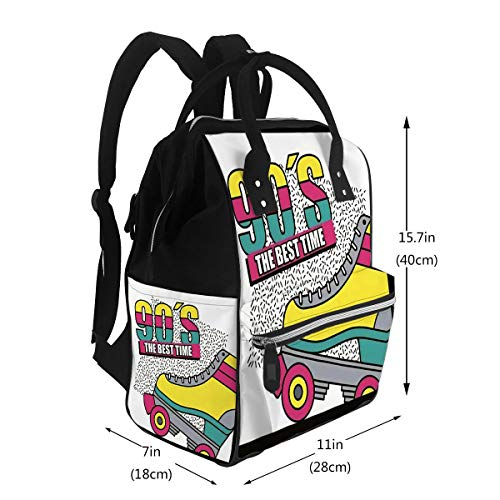 Diaper Bags Backpack The Best Time 90S Roller Skate Abstract Large Capacity Muti-Function Travel Backpack