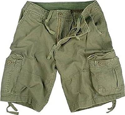 Olive Drab Infantry Vintage Military Cargo Utility Shorts, Medium
