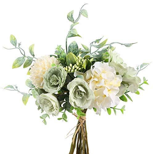 NAHUAA Künstliche Blumen Seidenblumen Strauß Künstliche Blumenstrauß Kamelie Blumen Hortensien Eukalyptus Gypsophila Unechte Blumenstrauß für Hochzeit Braut Dekoration Vase Tisch Zimmer Strauß Grün