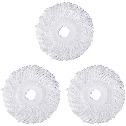 3 Replacement Mop Micro Head Refill For 360° Spin Magic Mop-Microfiber Replacement Mop Head-Round Shape Standard Size White-3 Pack