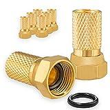 8X F-Stecker 7mm Vergoldet mit Gummidichtung breite Mutter für Koaxial Antennenkabel Sat Kabel BK Anlagen HB-DIGITAL Set HB-Digital