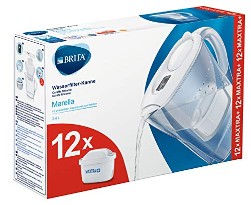 Brita Marella - Caraffa Filtrante per Acqua, Kit 12 Filtri Maxtra+ Inclusi