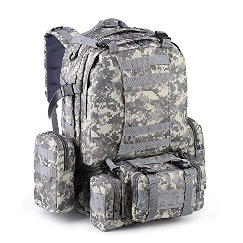 zeadio Military Tactical Backpack, Large Survival Rucksack Army Assault Pack Molle bag - Camouflage Grey
