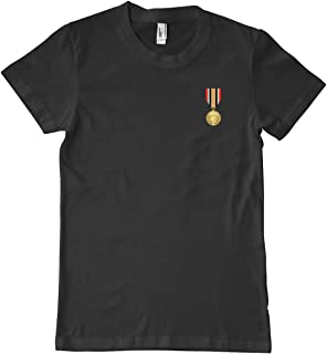 Luna Distributing US Army Iraq Campaign Medal Military T-Shirt 100% Cotton Black